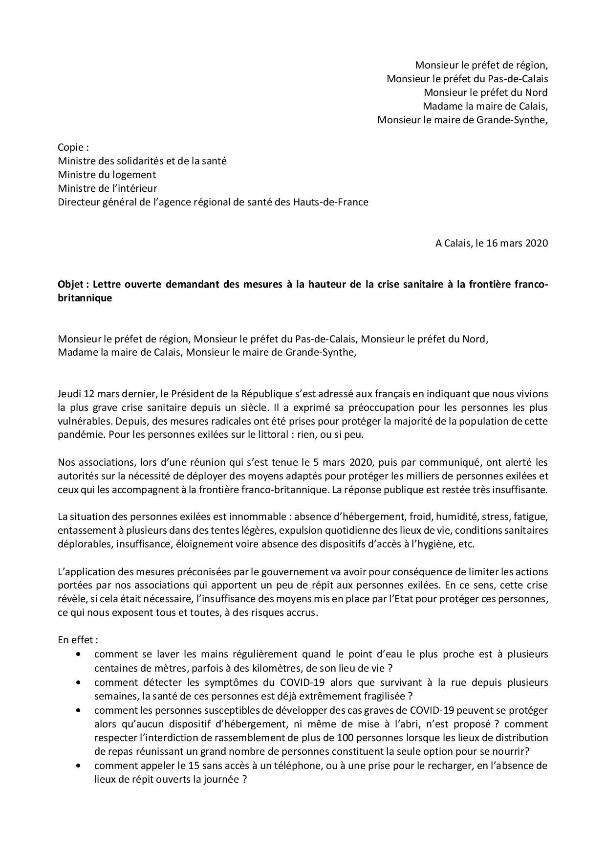 16 03 2020 Lettre Ouverte Crise Sanitaire Quelles Mesures A La Frontiere Franco Britannique